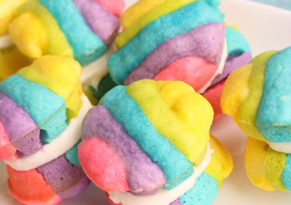 Rainbow whoopie pies